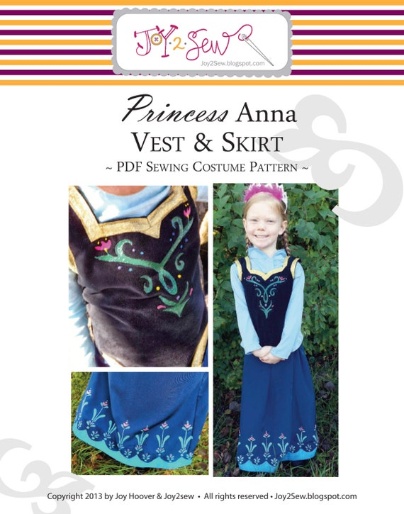 Elsa Frozen Dress Pattern Princess anna pdf skirt and