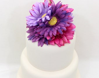 Wedding Cake Topper - Fuchshia Pink, Purple, Lavender Gerbera Cake Topper, Silk Floral Wedding Cake Topper, Wedding Cake Flowers