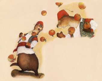 Original Redwall Art, Oswald and Oriole the Juggling Otters