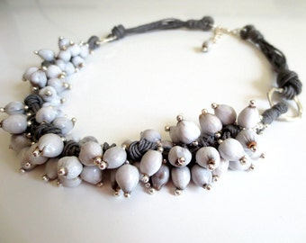Linen Necklace, Natural Necklace,  Job's Tears Beads, Linen Cord