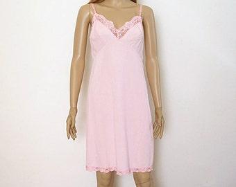 Vintage 1960s Full Slip Pale Bubblegum Pink Lace Slip Dress Lingerie / Medium / 36