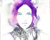 Original Watercolor Portrait Painting, Fashion Illustration. Schone