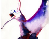 Modern Dancer Print, Archival Prints, Dancer Art Print from Watercolor painting, Contemporary Dancer Print,  Dancer with heart