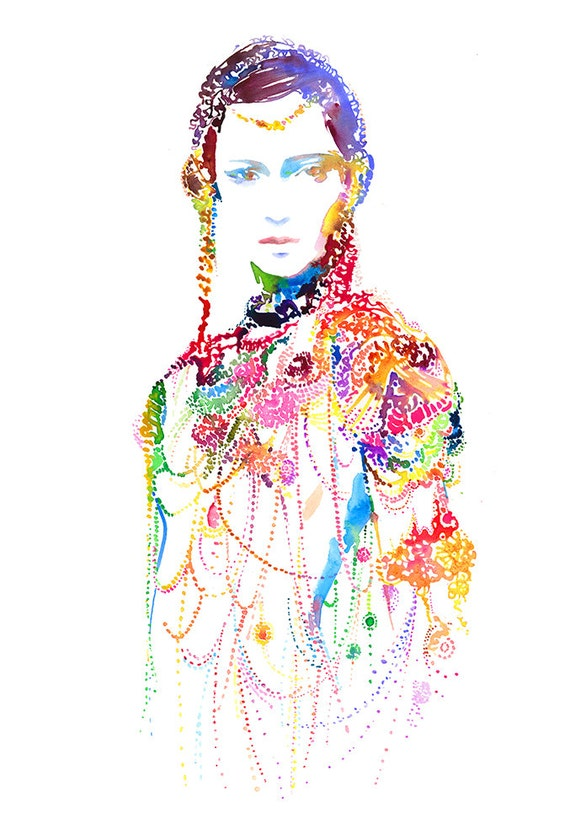 Archival Prints of Watercolor Fashion Illustration. Fashion Art, Fashion Print. Titled: Warriorink3