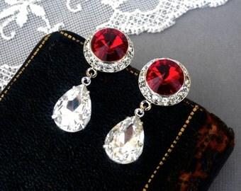 Radiant Rubies, Vintage 1980s Ruby Red Ravoli Rhinestones with Stunning Crystal Teardrops in Silver Post Dangle Earrings