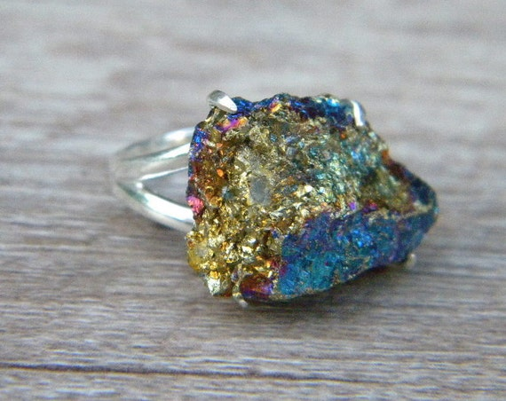 Raw Peacock Ore Ring Chalcopyrite Ring Sterling by SagesLeaf