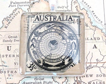 Vintage Australia Postage National Artic Research Stamp Necklace Pendant Key Ring
