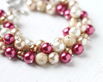 Gold and Raspberry Red Bridesmaids Jewelry, Pearl Cluster Bracelet for Weddings in Burgundy and Beige