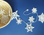 Crochet snowflakes garland - white Christmas decoration - holiday ornament - winter home decor - Christmas tree garland ~39 in
