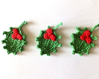 Christmas holly applique - crochet holly decorations - green holly leaves - winter wedding decoration - Christmas ornaments - set of 3