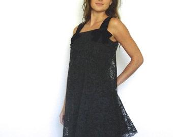 60s Little Black Velvet and Lace Minimalist Trapeze Bow Dress xs s