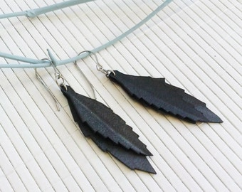 Sale Upcycled Leaf Drop Earrings - eco friendly recycled bicycle inner tube