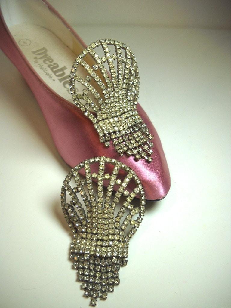 Vintage Rhinestone Shoe Clips Silver Tone Rhinestone Shoe