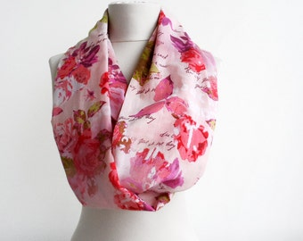 Pink infinity scarf, gauze cotton scarf, spring circle scarf, summer scarves for women, floral loop scarf, mothers day gift for mom