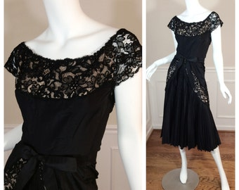 "Vintage 1950s Bombshell Wiggle Dress from Ben Wolfman a ""Foxy"" Original Cocktail Dress LBD"