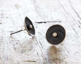 Eco Friendly Sterling Silver Earrings Recycled silver earrings Pea in Pod unique upcycled small round stud post earrings by HelenSilverSmit