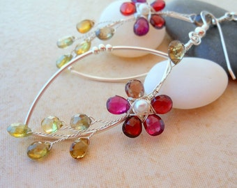 Flower Earrings Red Green Tundra Sapphires Sterling Silver Wire Wrapped