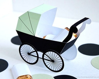 Baby Carriage Favor Box - Light Green & Black : DIY Printable Baby Buggy Gift Box | Pram | Baby Shower Favor - Instant Download