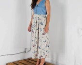 ON SALE Denim and Floral Sleeveless Dress / Light Cotton and Jeans Dress / Retro Summer Dress