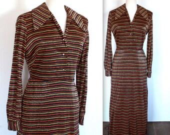 Vintage 1970's Dress // 60s 70s Long Glittery Striped Party Dress // Metallic Dress
