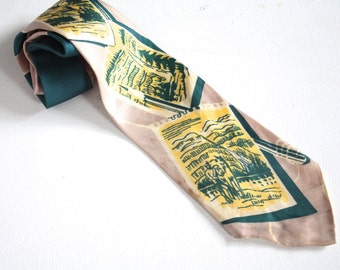 Vintage 1940s Necktie // 40s Buck Print Tie // Jasper National Park Alberta // British Neckwear
