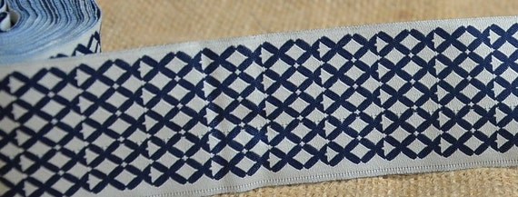 """SALE: 5 Yards New Hampshire Jacquard Ribbon  - Sewing Gift Wrapping Off white & Navy Diamond pattern Trim  1 3/4"""""""