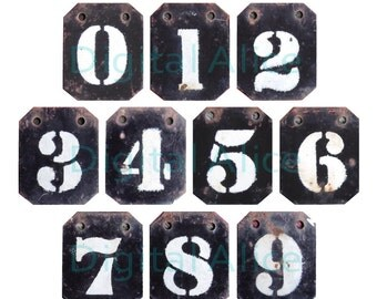 WORN METAL NUMBER Tags - Industrial Locker Numbers -Instant Download Digital Printable-  3 sizes- DiY