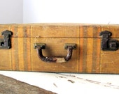 Vintage Tweed Striped Suitcase