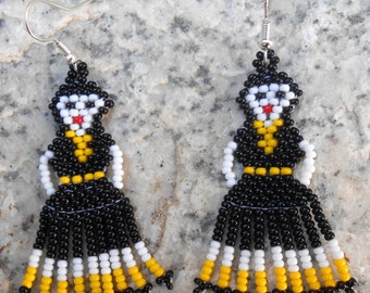 Handmade Stitched Beaded Mexican Lady Earrings