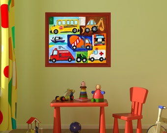Car and Truck Art PRINT for Kids, 20x16 Transportation Collage, Art for boys room or nursery