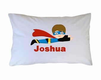 Superhero Pillow Case Personalized Travel or Standard Size
