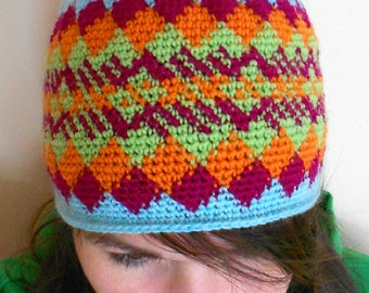 Diamonds and Plaid Crochet Colorwork Beanie