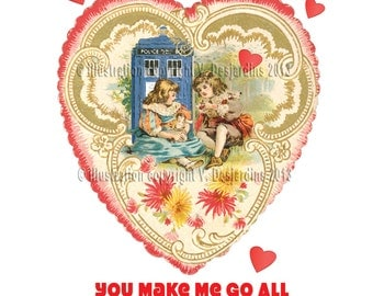 Tardis Victorian Style Valentine Card with Hearts and Flowers