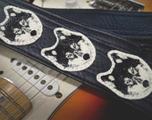 Wolf Guitar Strap, Heavy Duty Handmade Vegan Leather