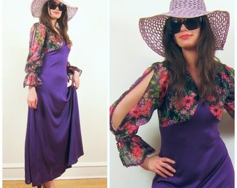 Vintage 1970s Purple Maxi Dress with Floral Print Bodice / 70s Boho Dress with Split Sleeves / Medium