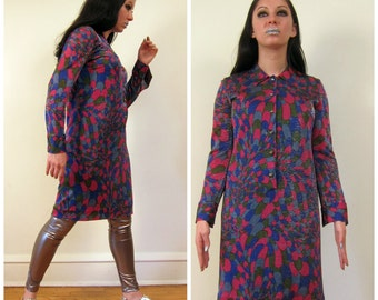 Vintage 1960s Dress in Sparkly Purple Print  / 60s Long Sleeved Shirt Dress in Graphic Print / Small