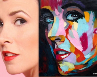 Custom Francoise Nielly-style pop art portrait from photo, textured oil painting on canvas, 40x40""