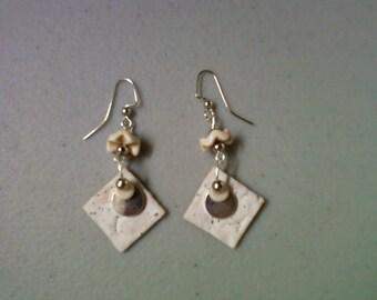 Bone White Ceramic Earrings (1010)
