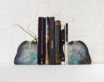 Air Plant Planetary Storm Magic Book Ends - Crystal Bookends Air Plant Garden - Agate Geodes - Set of Two - Unique Home Decor Planter