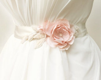 Blush bridal sash, pink silk flower, wedding sash belt, beaded leaves - Emmaline
