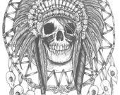Skull Dreamcatcher -Archival Art  Print Tattoo illustration Native American Indian Feathers Dreamcatcher Headdress Southwestern