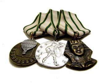 Steampunk Cosplay Medal // Custom DOUBLE CHARM Medallion // Green Gold Cream Ribbon