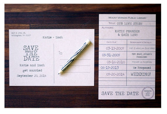 Library Card Save the Date Postcard Couples Love Story Card