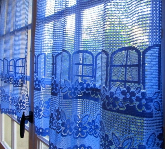 Blue Lace Curtains Pair French Window Curtains Blue Cafe