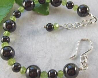 Black Onyx & Green Peridot Sterling Silver Bracelet
