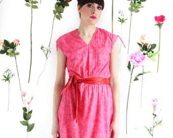 Renee, Vintage, 1970s Pink Floral Stripe Midi Dress, from Paris