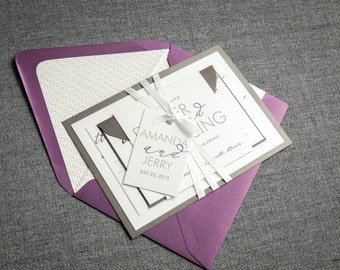 """Purple and Silver Wedding Invitations, Modern Wedding Invitations with Satin Ribbon, Custom Invitation Suite - """"Modern Calligraphy"""" FP-1L-v3"""