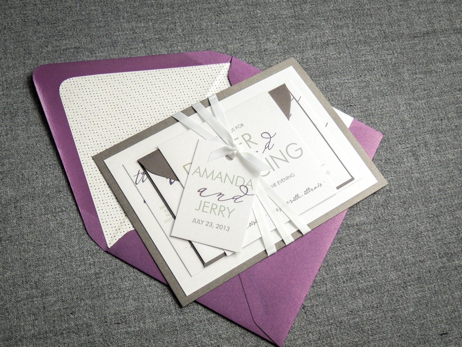 Silver And Purple Wedding Invitations: Purple And Silver Wedding Invitations Modern Wedding