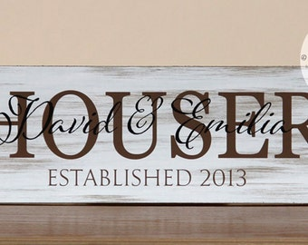 Family Name Sign, Etablished Sign, Personalized Name Plaque, Great Wedding Gift