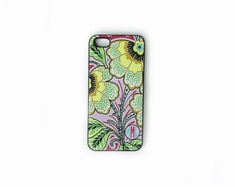 iPhone 4, 4S or 5, 5c, 5s , iPod Touch 4 Floral With Monogram Cell Phone Case, Lilly Colors, Lilly Inspired, Shabby Chic iPhone